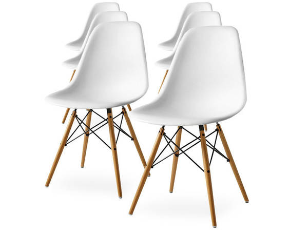 chaises scandinaves nora blanches avec coussin